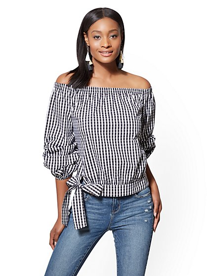 Off-The-Shoulder Poplin Blouse - Gingham - New York & Company