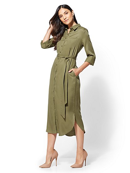 Olive Belted Midi Shirtdress - New York & Company