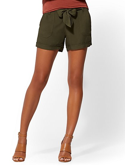 Olive Belted Soft Short - New York & Company