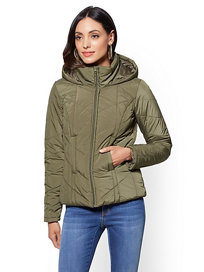 Olive Chevron-Quilted Hooded Jacket - New York & Company