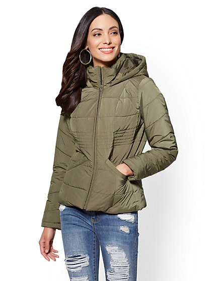Olive Hooded Puffer Jacket - New York & Company
