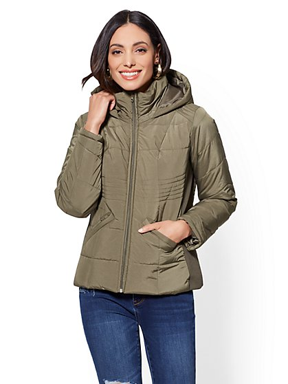 Olive Puffer Hooded Jacket - New York & Company