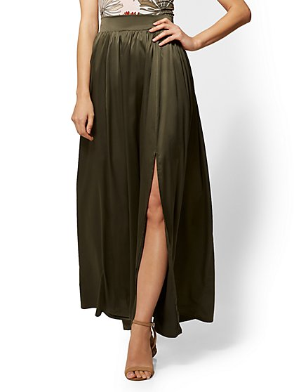 Olive Satin Pull-On Maxi Slit Skirt - New York & Company