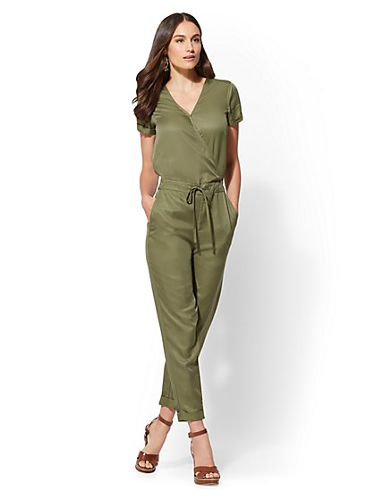 Olive Wrap Jumpsuit - New York & Company