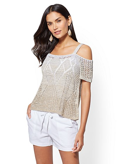 Ombre Cold-Shoulder Sweater Tank Top - New York & Company
