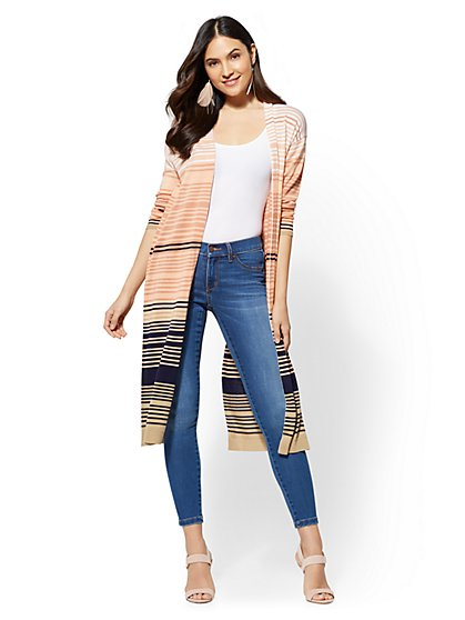 Ombre Stripe Duster Cardigan - New York & Company
