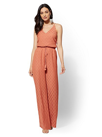 Open-Back Jacquard Jumpsuit - New York & Company