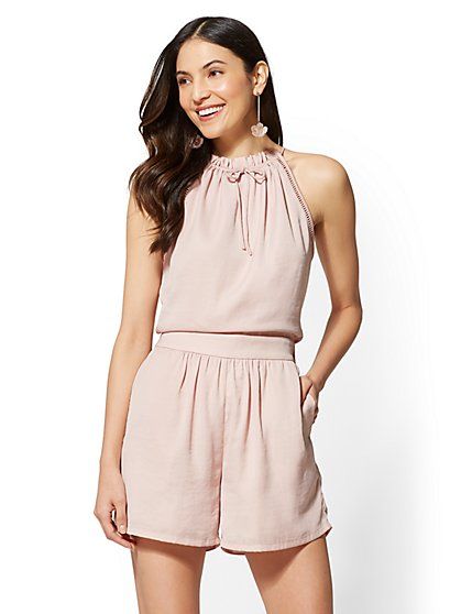 Open-Stitch Halter Romper - New York & Company