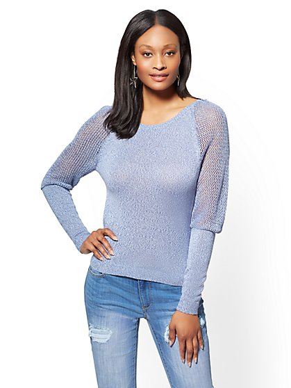 Open-Stitch Marled Sweater - Heathered Blue - New York & Company