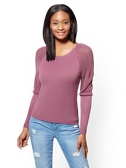 Open-Stitch Marled Sweater - Plum - New York & Company
