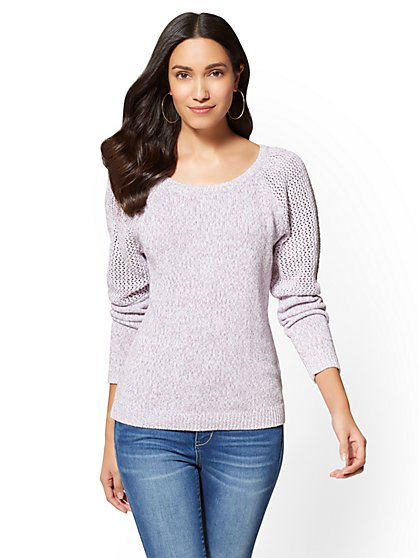 Open-Stitch Marled Sweater - New York & Company