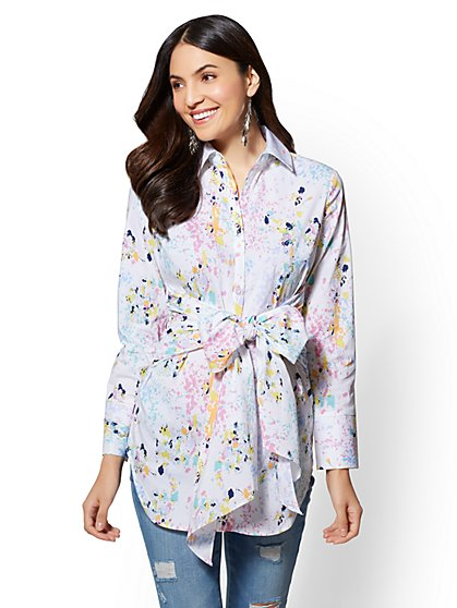 Paint-Splattered Tie-Front Poplin Tunic Shirt - New York & Company