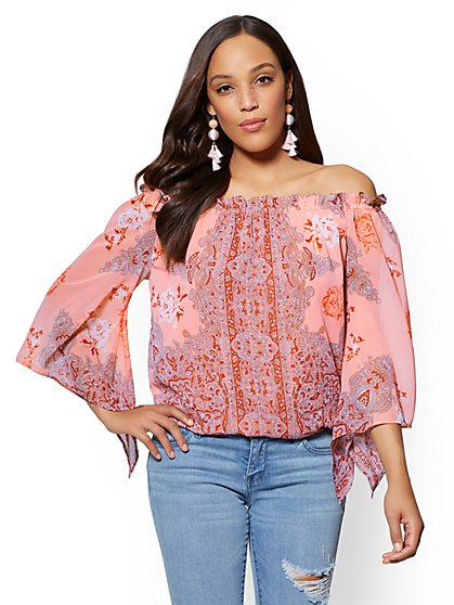 Paisley Off-The-Shoulder Blouse - New York & Company