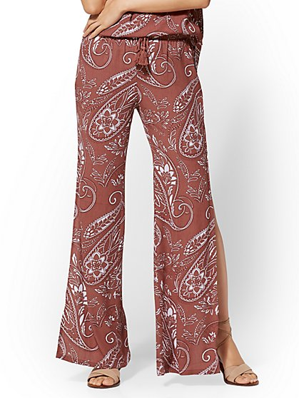 Paisley Side-Slit Pull-On Pant - New York & Company