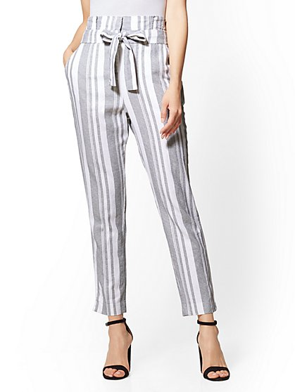 Paperbag-Waist Tie-Front Linen Pant - New York & Company