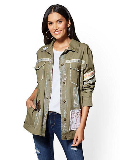 Patchwork & Painted Jacket - Olive - New York & Company