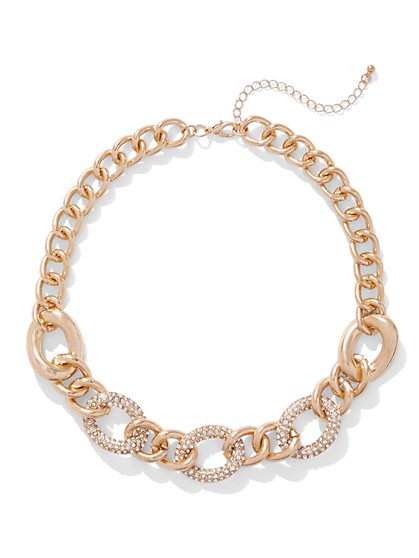 Pave Goldtone Chain-Link Necklace - New York & Company