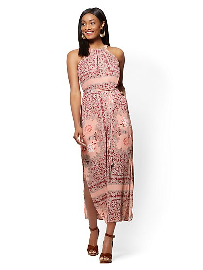 Peach Paisley Halter Maxi Dress - New York & Company