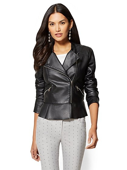 Peplum Faux-Leather Moto Jacket - New York & Company