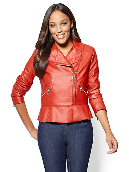 Peplum Faux-Leather Moto Jacket - New York & Company