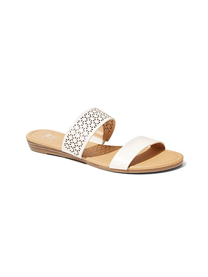 Perforated Two-Band Slide Sandal - New York & Company