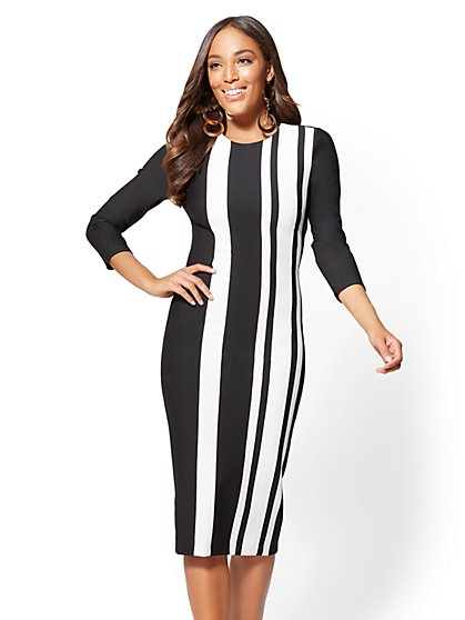 Petite 3/4-Sleeve Striped Sheath Dress - New York & Company