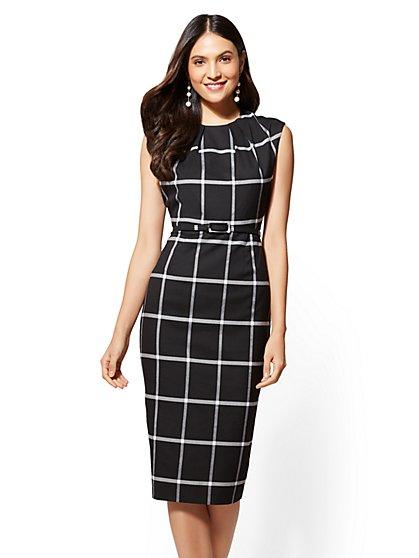 Petite 7th Avenue Black Belted Sheath Dress - New York & Company