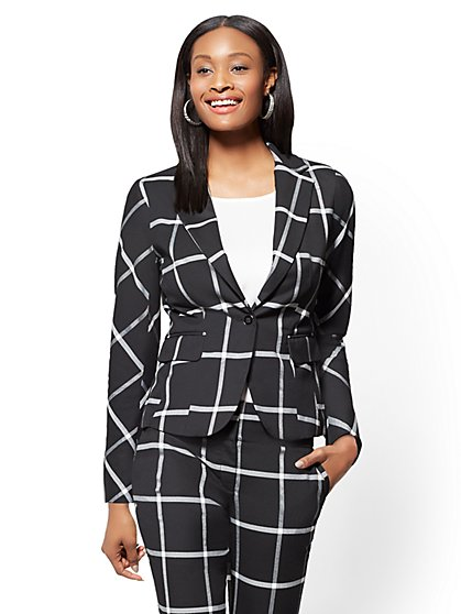 Petite 7th Avenue Check Print One-Button-Jacket - Modern - New York & Company