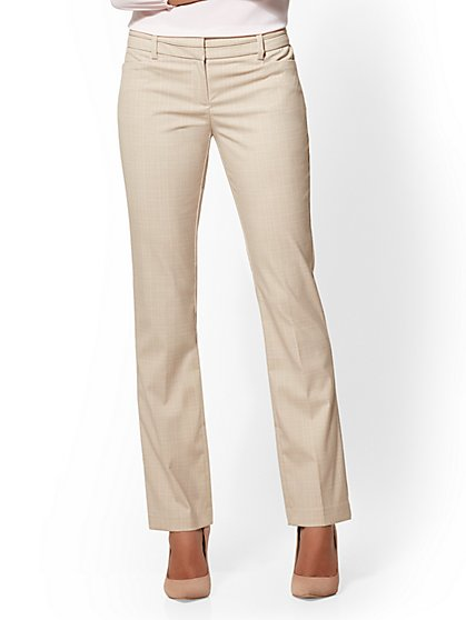 Petite 7th Avenue Pant - Straight Leg - Signature - Tan Plaid - New York & Company