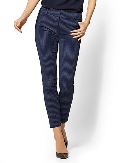 Petite Audrey Pant - Navy Slim Leg - Pinstripe - New York & Company