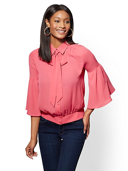 Petite Banded-Hem Bow-Accent Blouse - New York & Company