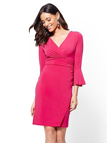 Petite Bell-Sleeve Wrap Dress - New York & Company