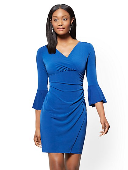 Petite Bell-Sleeve Wrap Dress - New York & Company