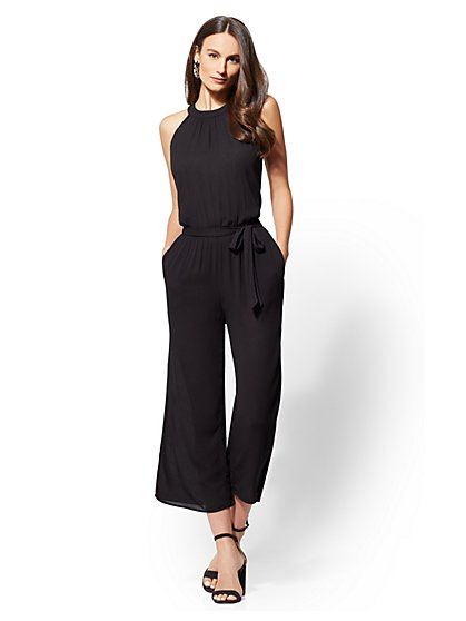 Petite Black Halter Jumpsuit - New York & Company