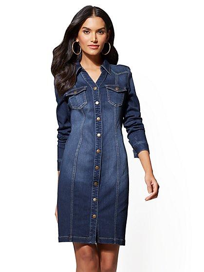 Petite Blue Wash Stretchy Denim Shirtdress - New York & Company
