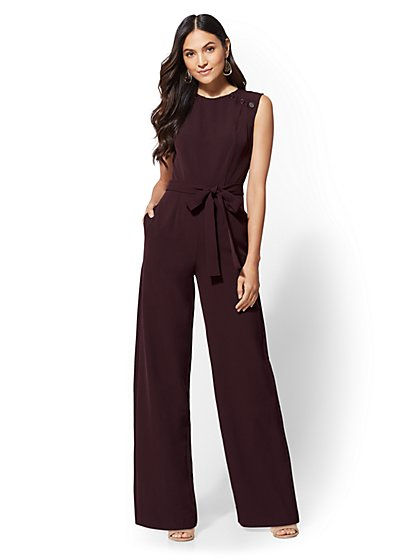 Petite Button-Accent Jumpsuit - New York & Company
