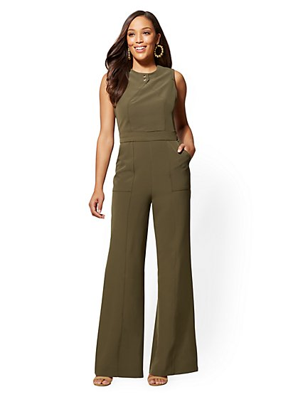 Petite Button-Accent Seamed Jumpsuit - New York & Company