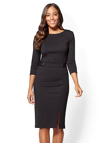 Petite Button-Accent Sheath Dress - New York & Company