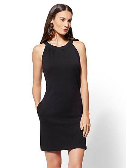 Petite Cotton Halter Shift Dress - New York & Company