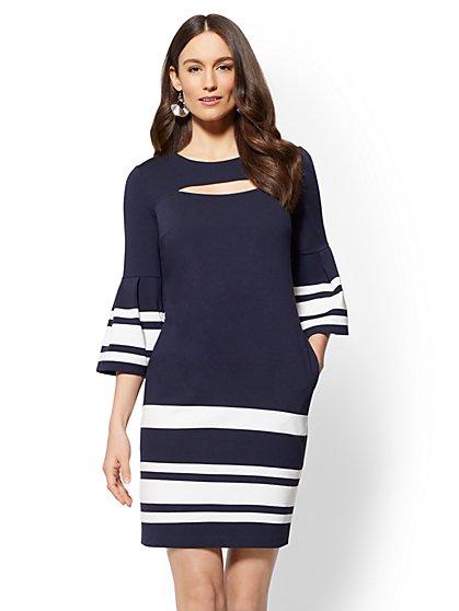 Petite Cutout Bell-Sleeve Striped Shift Dress - New York & Company