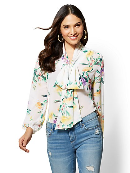 Petite Floral Bow-Detail Button-Front Blouse - New York & Company