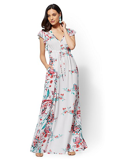 Petite Floral Flutter-Sleeve Maxi Dress - New York & Company