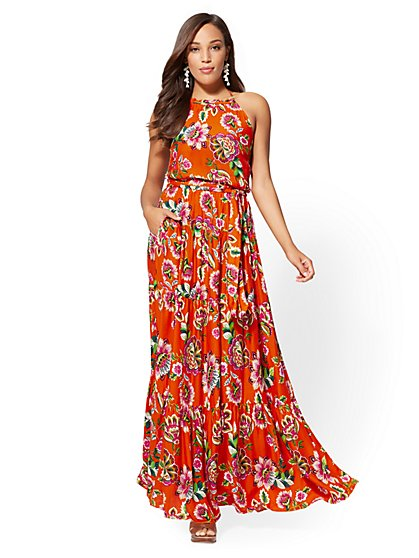 Petite Floral Halter Maxi Dress - New York & Company