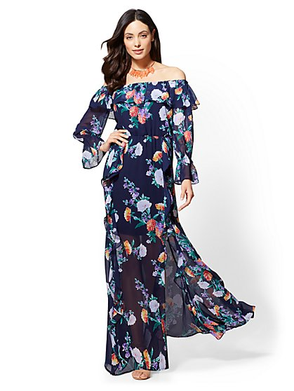 Petite Floral Off-The-Shoulder Maxi Dress - New York & Company