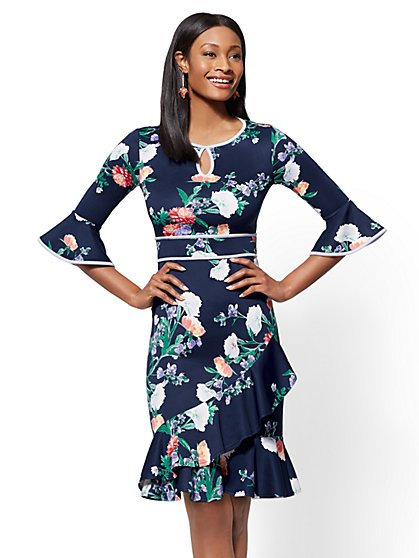 Petite Floral Ruffled Sheath Dress - New York & Company