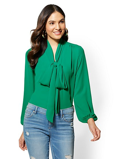 Petite Green Bow-Accent Button-Front Blouse - New York & Company