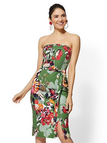 Petite Green Floral Strapless Sheath Dress - New York & Company