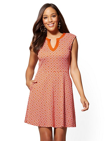 Petite Gwen Printed Fit and Flare Cotton Dress - New York & Company