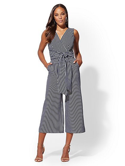 Petite Navy Stripe Wrap Jumpsuit - New York & Company