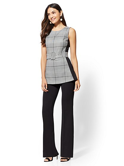 Petite Plaid Twofer Jumpsuit - New York & Company